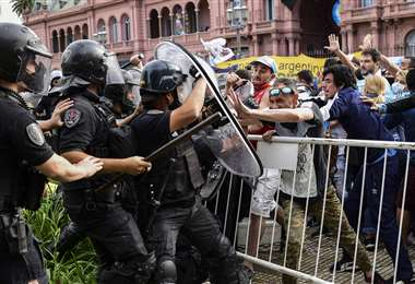 Incidentes en Casa Rosada. Foto: AFP